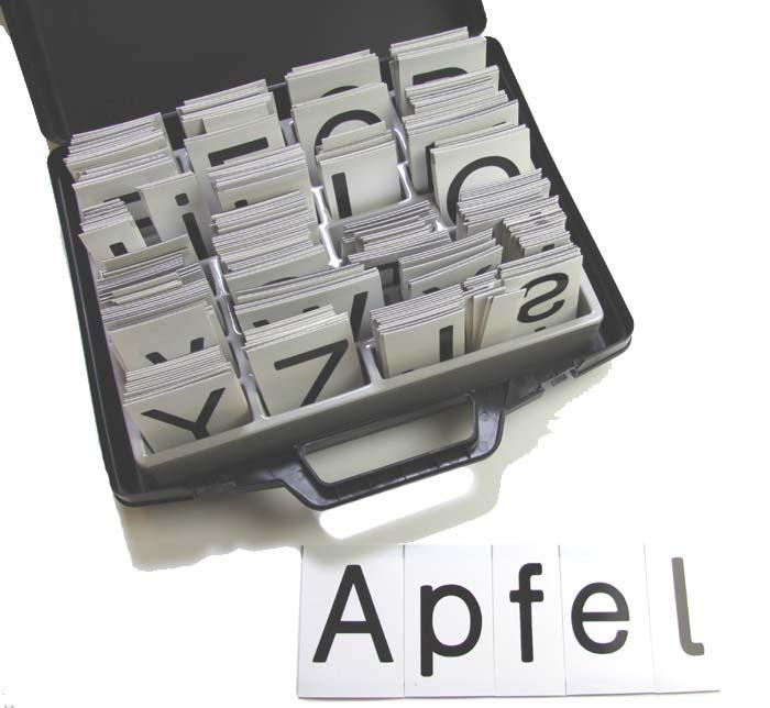 Buchstabensatz - Druckschrift im Kunststoffkoffer