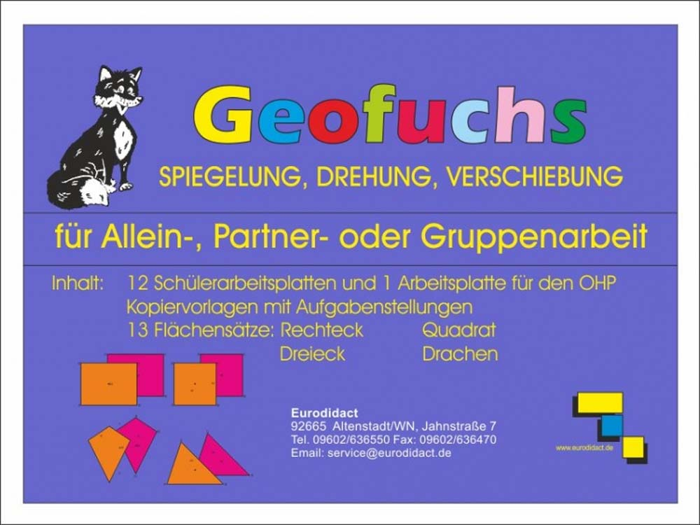 geofuchs spiegelung drehung verschiebung 5401670 mathematik klasse 1 bis 6 geometrie. Black Bedroom Furniture Sets. Home Design Ideas