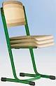 Schülerstuhl höhenverstellbar mit Doppel-U-Fuß - offener Sitzträger